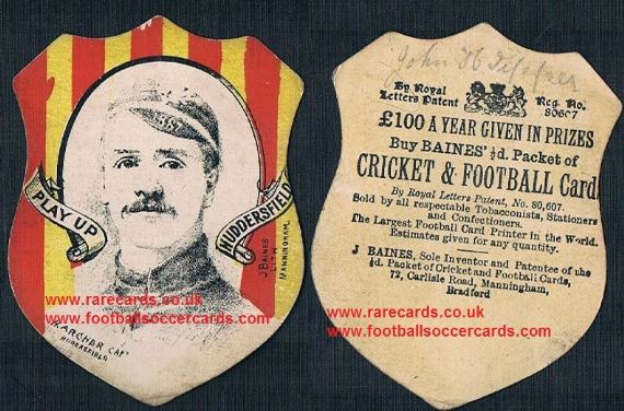 1880's Huddersfield Giants RFLC H.Archer captain rugby card by Baines Litho Manningham